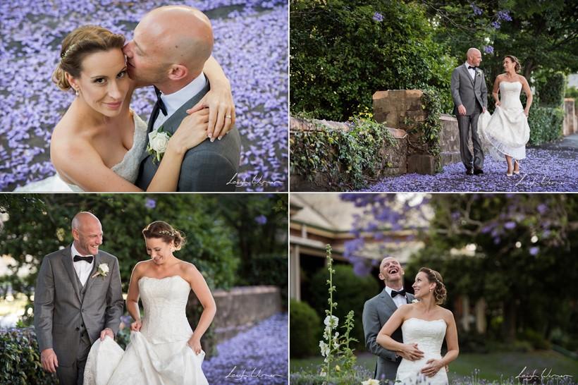 Wedding Bridal Portrait surrounded by Jacaranda Trees